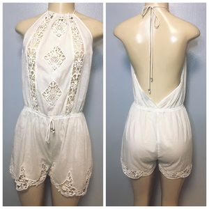 TOPSHOP Cotton Embroidered Floral Romper Size M